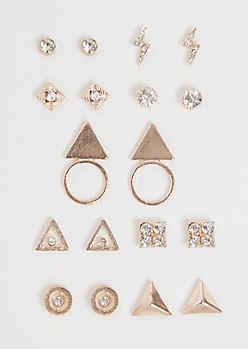 9-Pack Rose Gold Geo Stone Earring Set