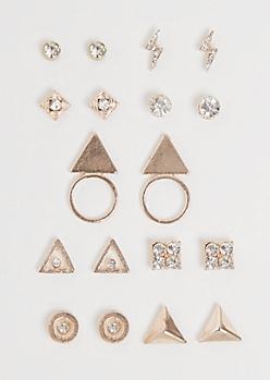 9-Pack Rose Gold Geo Stone Earring Set