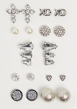 9-Pack Stone Droplet Earring Set