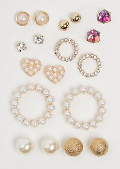 9-Pack Pearl Circlet Earring Set