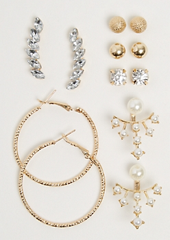 6-Pack Pearl Drop Front/Back Earring Set