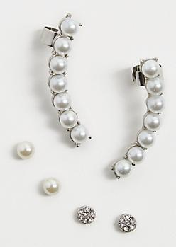 Pearl & Studs Crawler Earring Set
