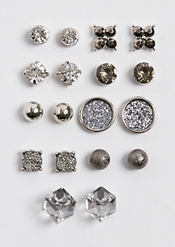 9-Pack Sparkling Druzy Earring Set