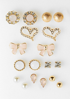 9-Pack Gold Stone & Bow Stud Earring Set