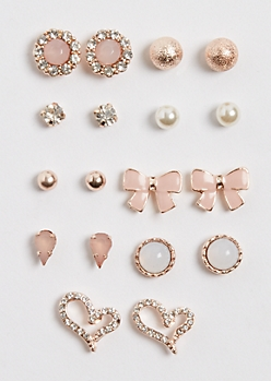 9-Pack Pink Bow Earring Set