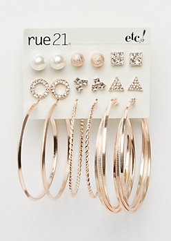 9-Pack Geo Stone & Hoop Earring Set