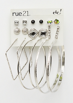 9-Pack Stone Cube & Hoop Earring Set