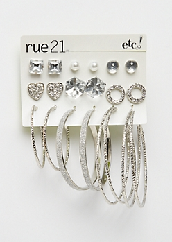 9-Pack Heart Stone & Hoops Earring Set