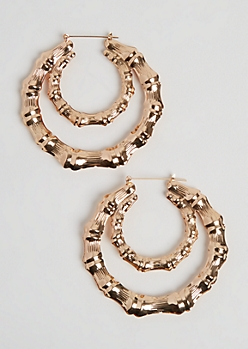 Bamboo Double Hoop Earrings
