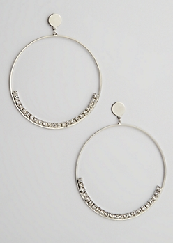 Stone Row Hoop Earrings