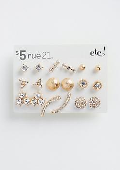 9-Pack Geo Stone Earring Set