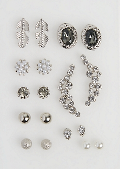 9-Pack Stone Cluster Stud Earring Set