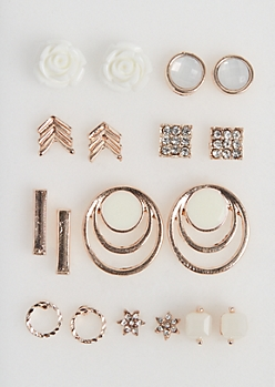 9-Pack Cake Rose Stud Earring Set