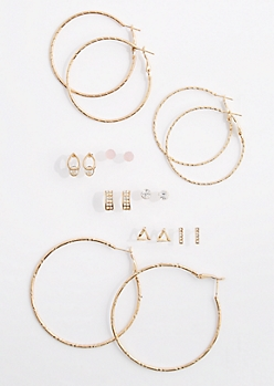 9-Pack Shimmering Drops & Hoops Earring
