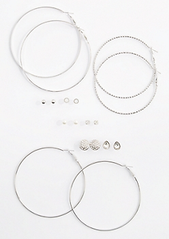 9-Pack Stone Medallion & Hoops Earring