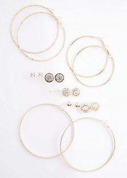 12-Pack Iridescent Stone Stud & Hoop Set
