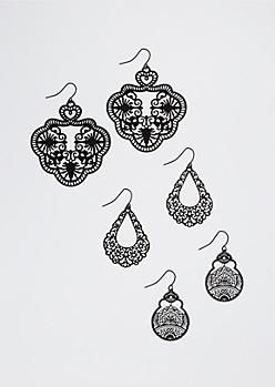 Boho Openwork Earring Trio