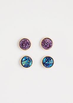 Purple & Blue Druzy Stone Earring Duo