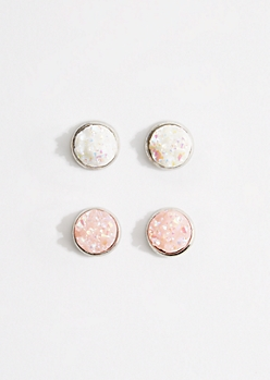 2-Pack Pink Iridescent Druzy Earring Set