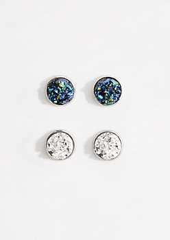 2-Pack Blue Iridescent Druzy Earring Set
