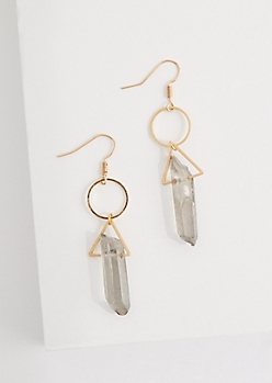 Smoky Agate Prism Geo Earrings