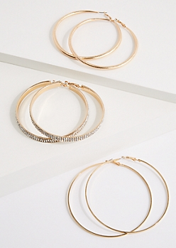 3-Pack Golden Mixed Hoop Earrings Set