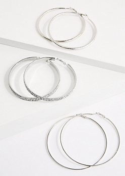 3-Pack Silver Mixed Hoop Earrings Set