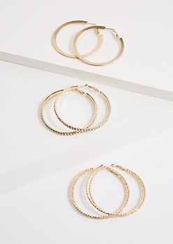 3-Pack Etched Hoop Earring Set
