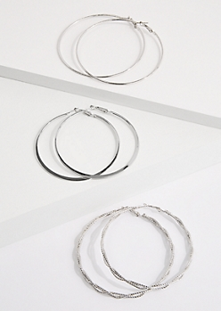 3-Pack Silver Twisted Hoop Earring Set