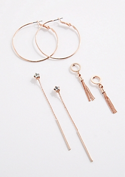 3-Pack Fringe Drop & Hoop Earring Set