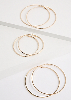3-Pack Gold Twisted Hoop Earrings