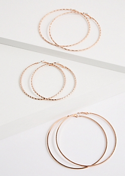 3-Pack Rose Gold Twisted Hoop Earrings