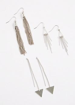 3-Pack Geo & Fringe Drop Earrings