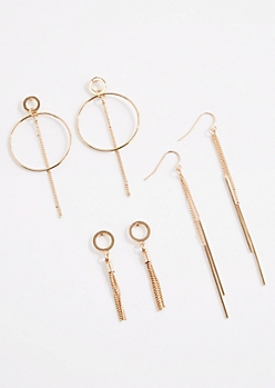 3-Pack Linear & Hoop Drop Earrings