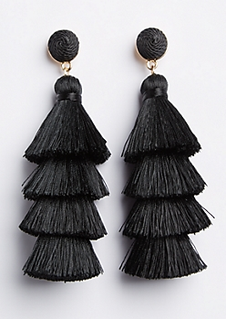 Black Tiered Tassel Drop Earring