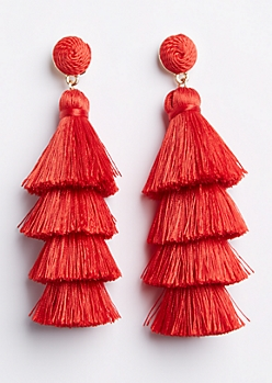 Red Tiered Tassel Drop Earring
