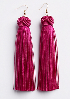 Fuchsia Tassel Drop Earring