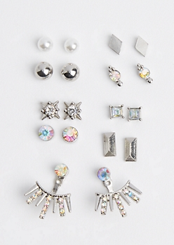 9-Pack Silver Burst Front/Back Earring Set