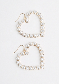 Faux Pearl Heart Earrings