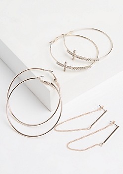 3-Pack Cross Hoop & Drop Earring Set