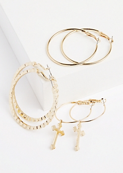 3-Pack Wavy Cross Hoop Earring Set
