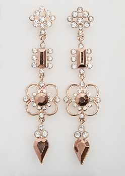 Rose Gold Stone Drop Earring