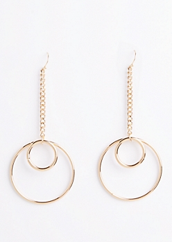Layered Circle Drop Earrings