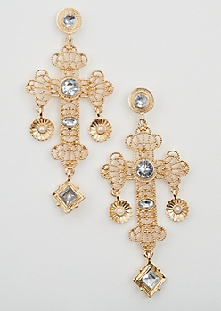 Filigree Cross Drop Earring