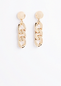 Golden Chain Link Drop Earrings