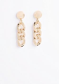 Golden Chain Link Drop Earrings