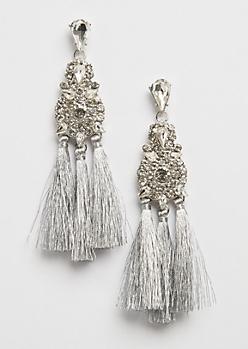 Stone Silver Fringe Drop Earring