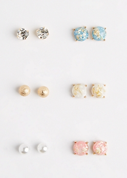 6-Pack Marbled Stone Earring Set