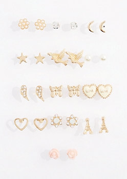 13-Pack Paris Love Stud Earring Set