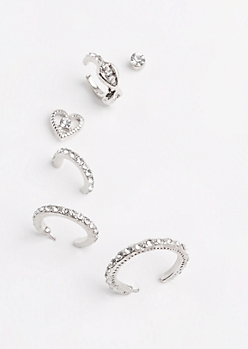 6-Pack Silver Heart Hoops Stone Earring Set